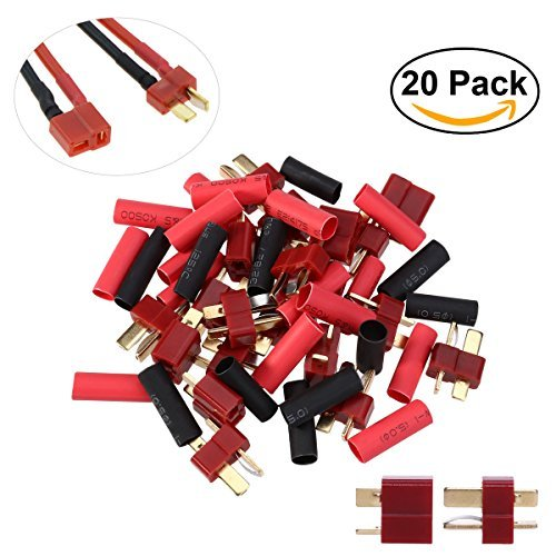 Style Female Plug (UEETEK 10 Pairs Ultra T-Plug Connectors Deans Style Male and Female with 20pcs Shrink Tubing For RC LiPo Battery)
