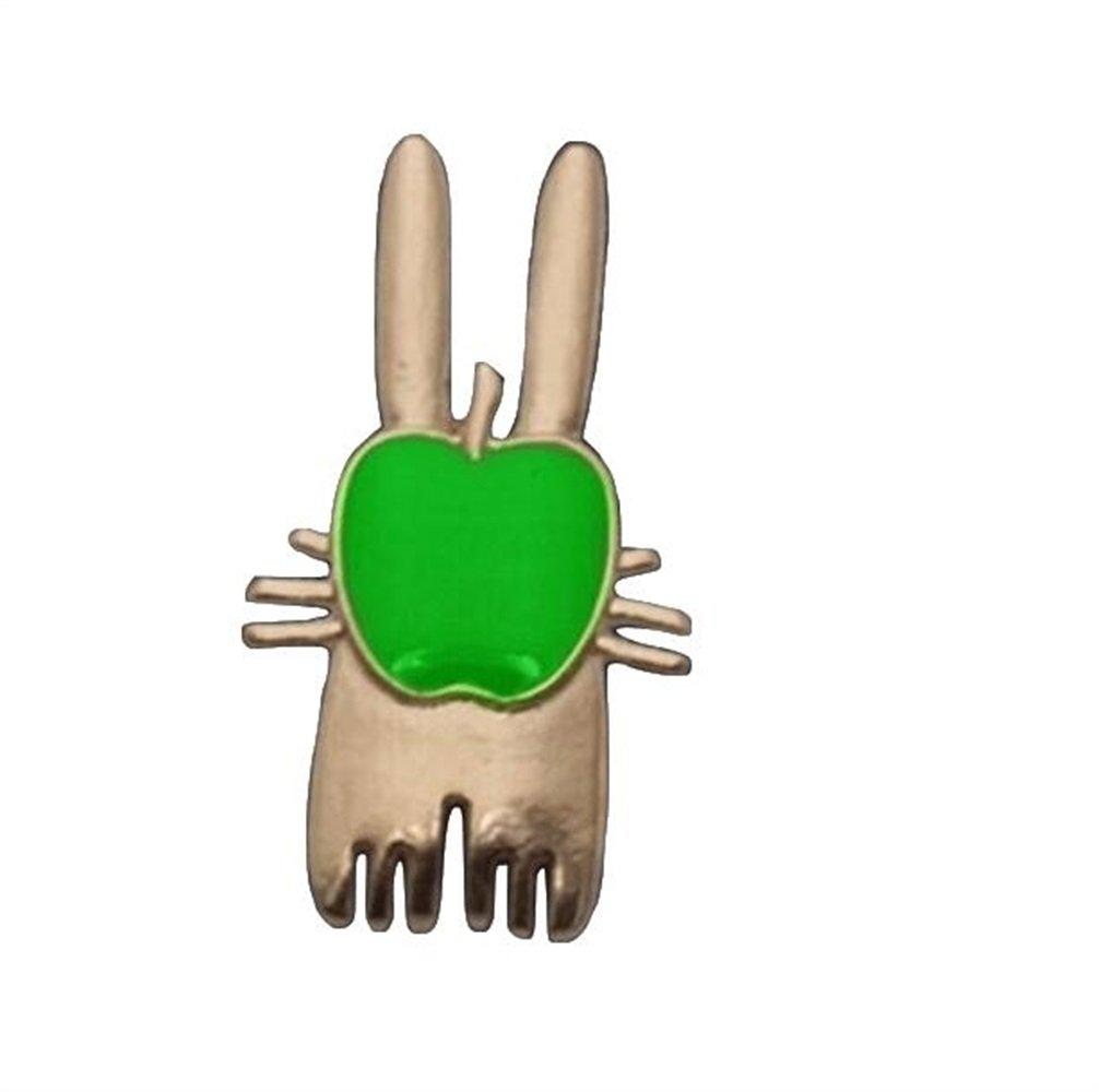 Yudanwin Fête d'anniversaire pour Enfants Insigne de Bouton de Badge de Broche de Lapin Mignon de Mode (Couleur Verte)
