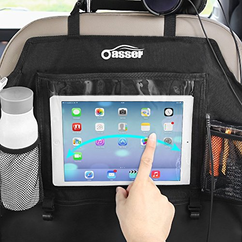 Oasser Kick Mats Car Seat Back Protectors Back of Seat Organizers 2 Pack XL with 1 Tissue Box Clear 10'' Ipad Holder 3 Large Storage Organizers by Oasser (Image #4)