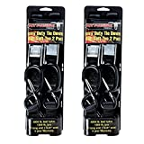 Pit Posse PP2758-2 Two Pairs of Heavy Duty 1'' X 6' Motorcycle Tie Down Restraints With Soft Tye & Safety Clips Hooks