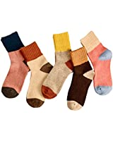 Woogwin 5 Pairs Womens Winter Warm Thick Knit Wool Cozy Vintage Crew Socks