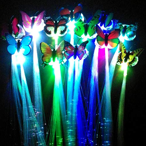 HongFu 12 Pack Alternating Multicolor LED Light-Up Flashing Fiber Optic Hair Clip Hairpin Braid Barrettes Lights for Glow Party Favors Supplies]()