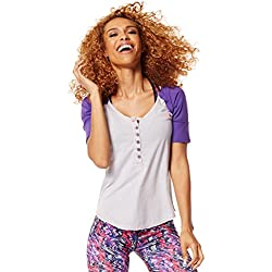 Zumba Womens Get Hyped Up Baseball Tee, Wear It Out White, Medium