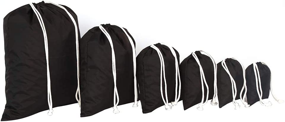 Water-Resistant 210 Denier Polyester Oxford Multi-Size Travel Packing Drawstring Thickened Sacks Bags Home Storage Organizer for Personal Items, Passport, Household Laundry, Grocery,Black, 6-Pack.