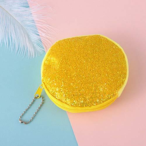 - Change Bag Mini Glitter Wallet Kids Coin Purse Party Clutch Sequins Handbag (Color - yellow)