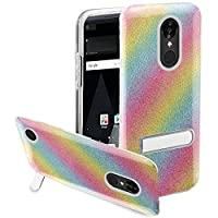 HR Wireless Cell Phone Case for LG Aristo K8 2017 Slim Hybrid Dual Layer Armor - Rainbow
