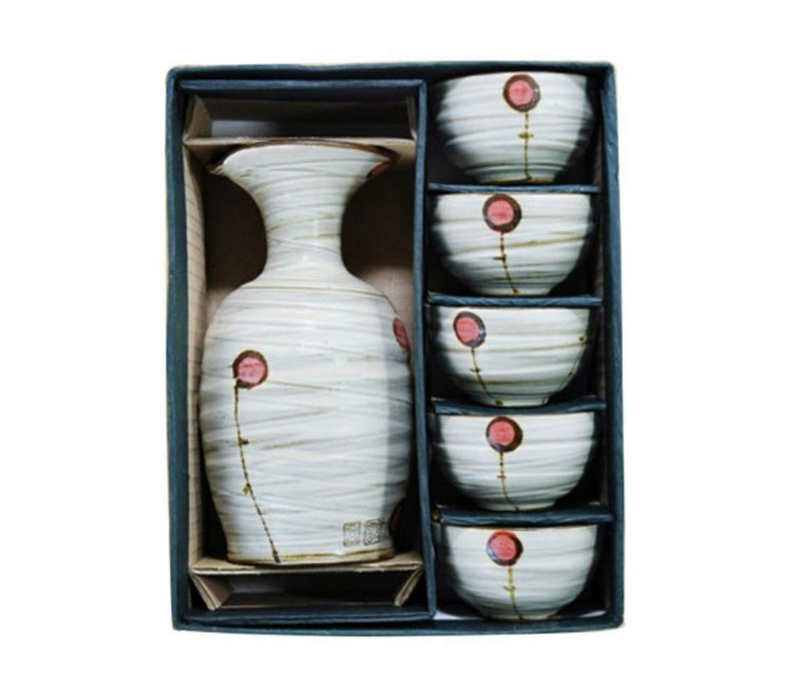 Korean Soju, Japanese Sake, Bottle and Cup 6 Pieces Set - Handmade Pottery Cups, Korean Traditional Ceramic Bottle and Cup