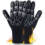 Golden Scute BBQ Gloves, 662°F Heat Resistant Grilling Gloves, Non Slip Silicone Insulated Coating Grill Gloves, Skull Pattern, Set of 2, Gift Box Packing (Black)