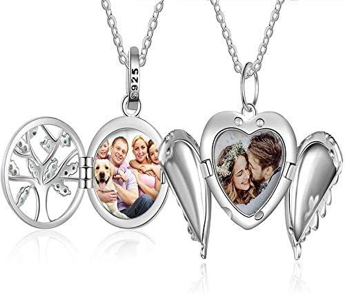 Halskette mit Medaillon Silber 4 Foto Locket Geschenk Andenken Valentinstag