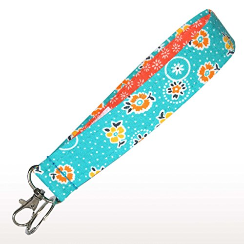 - Bright Blue Floral Key Fob - 6