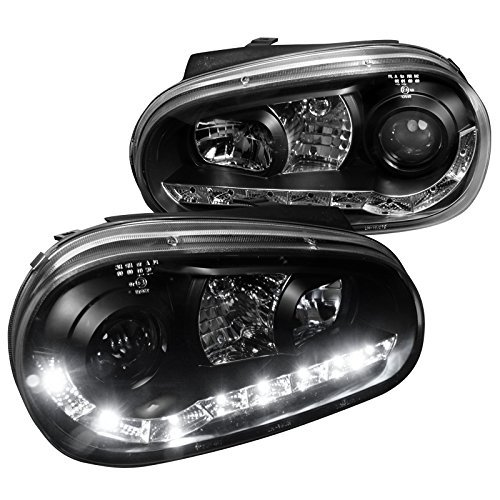 F99JM-8-TM Volkswagen Golf Cabrio R32 R8 Style Led Black Projector Head Lights ()
