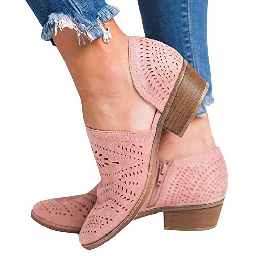 (GOUPSKY Women's Ankle Boots Slip On Loafers Pointed Toe Chunky Block Low Heel Office Dress Casual Shoes Cutout Booties Pink)