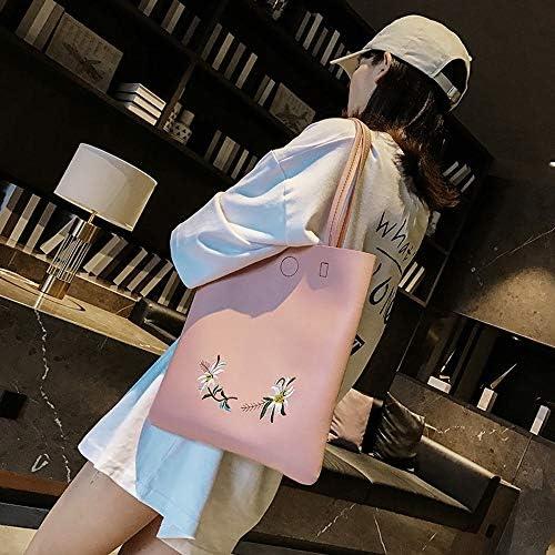ファッションブランド大きな袋の女性の新しい年の新しいショルダーバッグシンプルなカジュアル刺繍トートバッグ大容量通勤バッグハンドバッグ若々しく可愛らしい雰囲気 (Color : Pink)