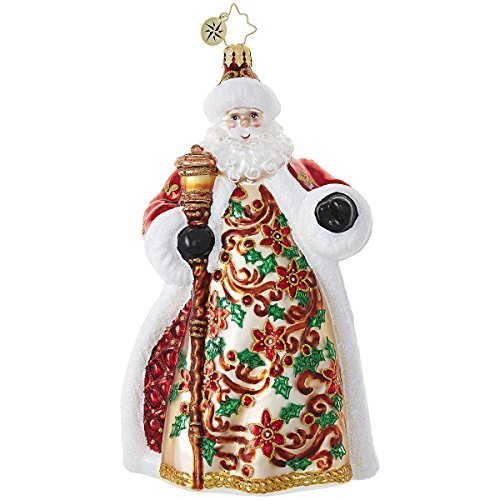 Christopher Radko Poinsettia Passion Santa Claus Christmas Ornament
