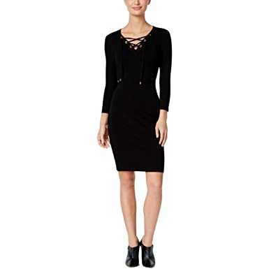 Calvin Klein Womens Petite Lace Up Zip Trim Sweater Dress