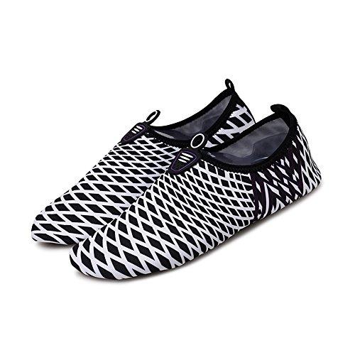 huateng Malla Rayas Masculina Femenina Pareja Moda Deportes Zapatos de Playa Zapatos de natación Ligeros Zapatos Suaves Zapatos de Buceo negro