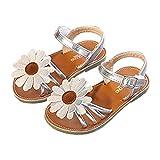 lakiolins Toddler Girls Summer Beach Sunflowers Slingback Flat Sandals Princess Dress Shoe Silver Size 23