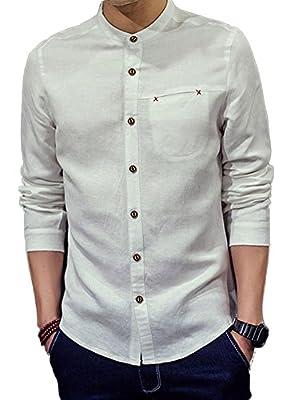 Plaid&Plain Men's Mandarin Collar Long Sleeve Slim Linen Cotton Shirt