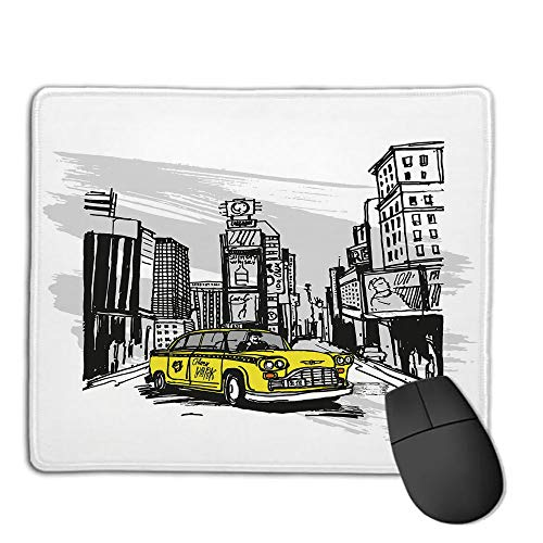 Mouse Pad,Stitched Edges, Waterproof, Ultra Thick 3mm, SilkySketchy,Yellow Hand Drawn Cab in New York Street Cityscape American Urban Life Art,Black Taupe Yellow,Applies to Games,Home, School,Office ()