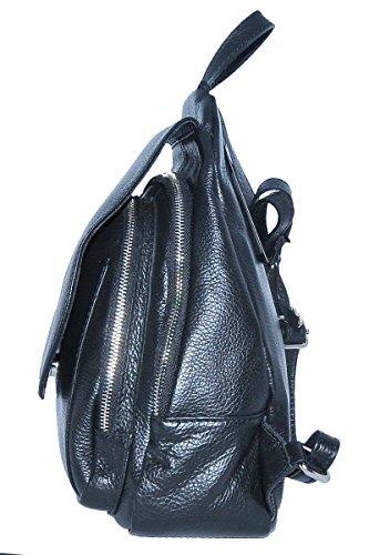 BORDERLINE - 100% Made in Italy - Tasche aus echtem Leder - FIORELLA - Schwarz