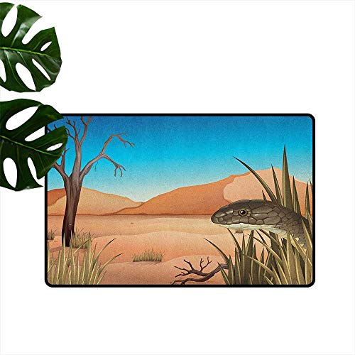 Reptile,Universal Door Mat Grumpy Snake Looking from Grass at Desert Tropical Nature Poison Wildlife Home 16