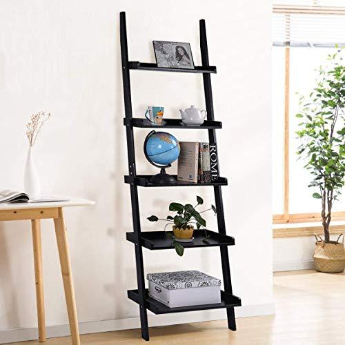 Tangkula Ladder Shelf, 5-Tier Multifunctional Modern Wood Plant Flower Book Display Shelf, Home Office Storage Rack Leaning Ladder Wall Shelf (Black, 1) ()