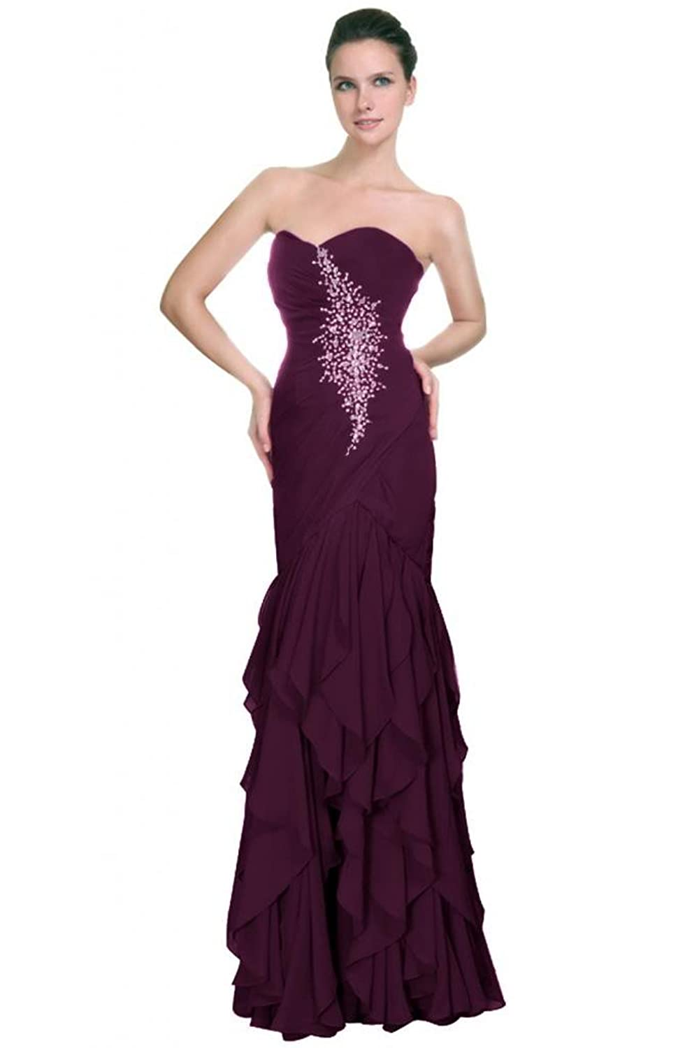 Sunvary Mermaid Asymmetrical Formal Party Gowns Straplesss Evening Dresses