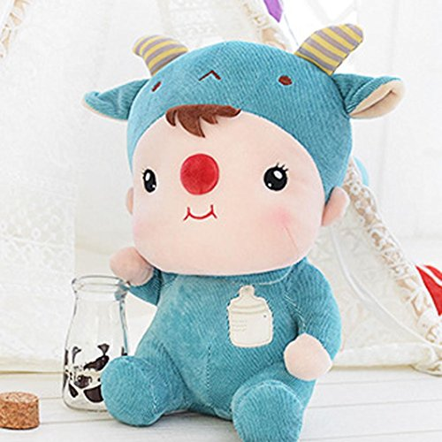 Mikey Store Cute Doll Jelly Beans Sitting Plush Toy Children Comfortable Touch (Blue) (Doll Quad Stroller compare prices)