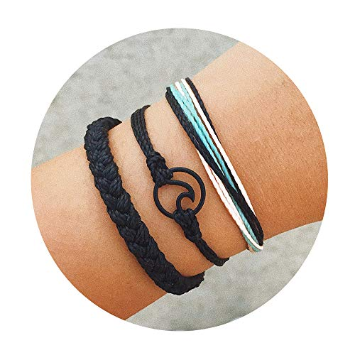 CHOA 3 Pcs Summer Surfer Wave Bracelet Adjustable Friendship Bracelet Handcrafted Jewelry Women (Black)