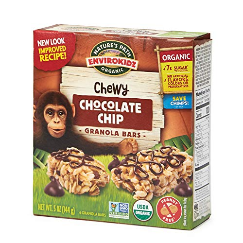 Nature's Path EnviroKidz Chocolate Chip Chewy Granola Bars, Healthy, Organic, Gluten-Free, Peanut-Free, 5 Ounce Box