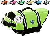 #5: Vivaglory Dog Life Jacket Size Adjustable Dog Lifesaver Safety Extra Bright Yellow Vest Pet Life Preserver, Extra Bright Yellow, Small