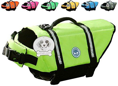 Vivaglory Dog Life Jacket Size Adjustable Dog Lifesaver Safety Extra Bright Yellow Vest Pet Life Preserver, Extra Bright Yellow, - Jacket Doggy Life Yellow