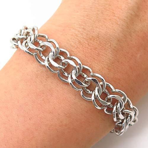 925 Sterling Silver Vintage 1960s Double Link Bracelet 6 3/4