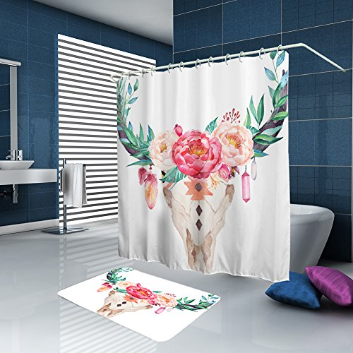 ALFALFA Home Bathroom Decorative Polyester Fabric Art Printed Shower Curtain With Hooks, Waterproof, Mildew Resistant 72