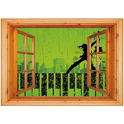 3D Depth Illusion Vinyl Wall Decal Sticker [ Popstar Party,Music in the City Theme Singer with Electric Guitar on Grunge Backdrop,Lime Green Black ] Window Frame Style Home Decor Art Removable Wall St ()