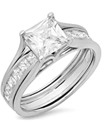 3.3 CT Princess Cut Pave Halo Bridal Engagement Wedding Ring band set 14k White Gold