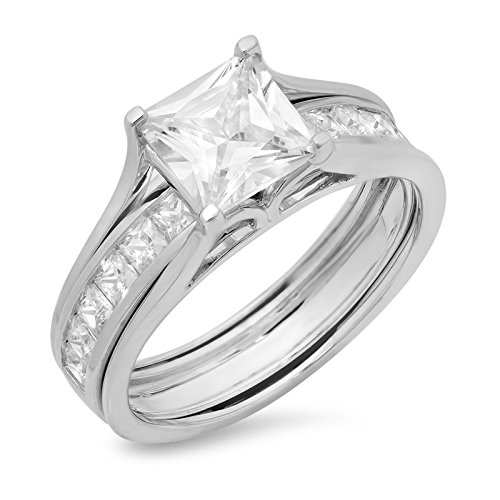 (3.34ct Princess Cut Pave Solitaire with Accent VVS1 Ideal D Moissanite & Simulated Diamond Engagement Promise Designer Anniversary Wedding Bridal ring band set Sliding 14k White Gold Sz 5)