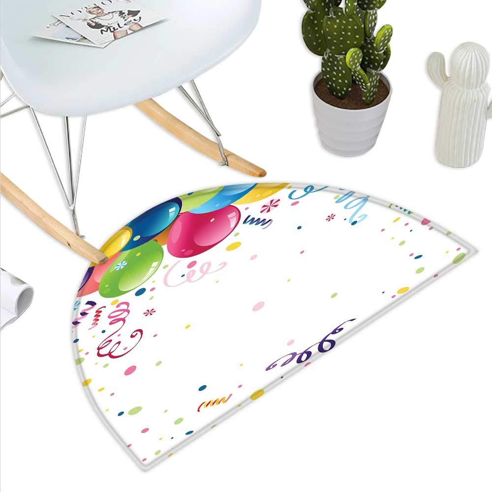 color09 H 27.5  xD 41.3  Kids Party Semicircle Doormat colorful Cartoon Space Themed Star Filled Background with Aliens and Astronaut Halfmoon doormats H 27.5  xD 41.3  Multicolor