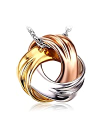 """Necklace, 925 Sterling Silver Pendant Necklace J.Rosée Fine Womans Jewelry """"Spiral Galaxy"""" Tricolor Necklace, 18''+ 2"""" Extender"""
