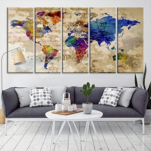 Modern Large Wall Art Rainbow Color World Map Map Push Pin Canvas Print for Wall Decor - Wall Art Canvas Print for Home and Living Decoration - Ready to Hang - Framed - Ready to Hang