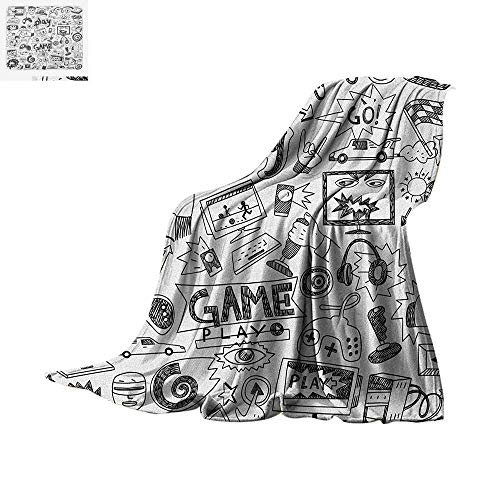 "Video Games Lightweight Blanket Monochrome Sketch Style Gaming Design Racing Monitor Device Gadget Teen 90s Velvet Plush Throw Blanket 60""x36"" Black White"