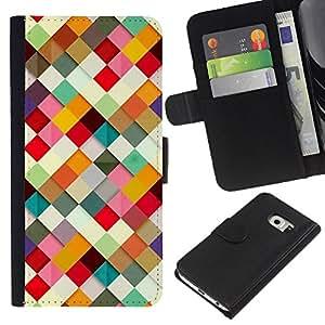 Planetar® Modelo colorido cuero carpeta tirón caso cubierta piel Holster Funda protección Para Samsung Galaxy S6 / SM-G920 EDGE ( 3D Paper Pattern Colorful )
