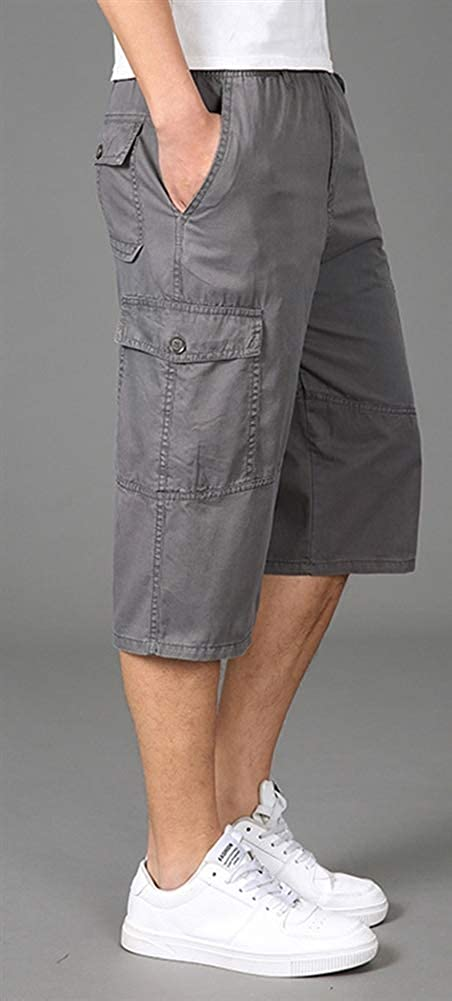 Liveinu Mens Big /& Tall Cargo Shorts Casual Cotton Elastic Waist Beach Walk Short