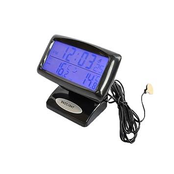 takestop Reloj Despertador ws1482 Digital retroiluninadas Multifunción Coche Máquina Termómetro Temperatura Interna Y Externa Sensor: Amazon.es: Electrónica