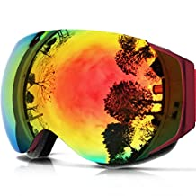 IceHacker Lagopus X6 Ski Goggles, Snowboard Snowmobile Snow Goggles with UV400 Protection Anti-fog Spherical Frameless Oversize Dual Lenses Goggles