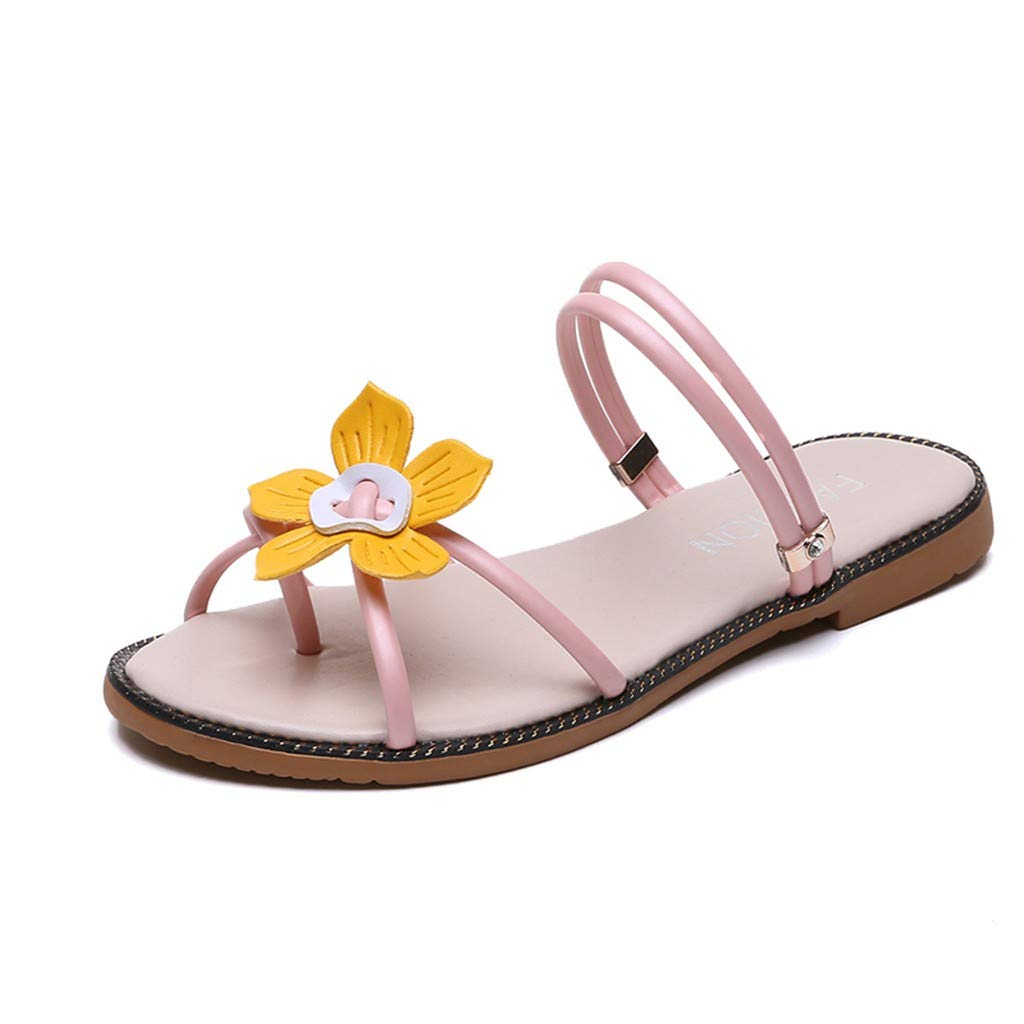 Bohemia Beach Sweet Sandals for Women - FAPIZI Ladies Open Toe Flower Two Wear Shoes Casual Flat Rome Shoes Sandals Pink by FAPIZI Women Shoes