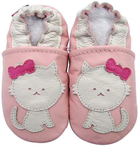 Carozoo baby girl soft sole leather infant toddler kids shoes Cat Pink 5-6y