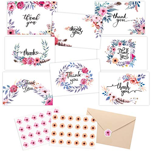 48 Bulk Thank You Cards Floral Flower Thank You Notes for Wedding Mother's day Graduation Father's day Baby Shower Bridal Shower 8 Design 4 x 6 inch with Sealing Stickers -