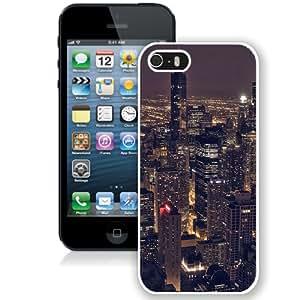 NEW Unique Custom Designed iPhone 5S Phone Case With Chicago City Aertial View Night_White Phone Case