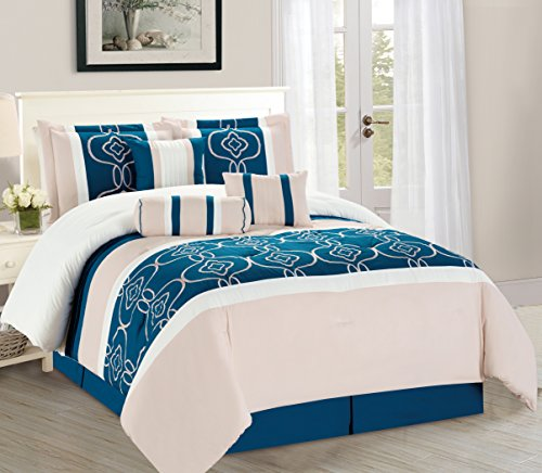(WPM 7 Pieces Complete Bedding Ensemble Turquoise Blue White Beige print Luxury Embroidery Comforter Set Bed-in-a-bag elegant Bedding (King))